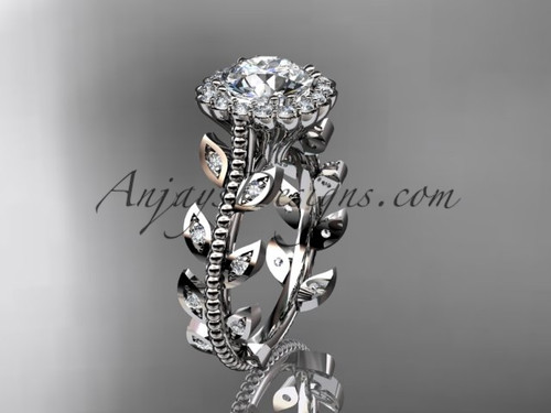 Stunning Engagement Ring White Gold Moissanite Leaf Wedding Ring ADLR118