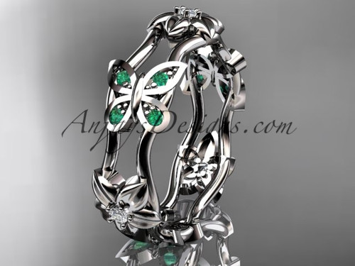 14kt white gold diamond floral butterfly wedding band, engagement ring, wedding band ADLR153B 1