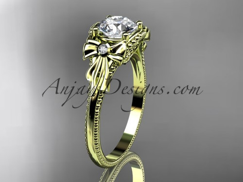 Moissanite Yellow Gold Black Diamond Bow Bridal Ring ADLR376