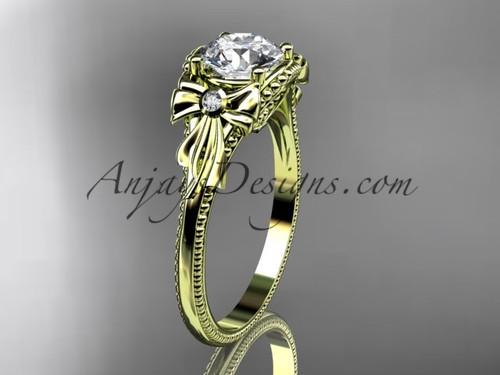 Moissanite Yellow Gold Black Diamond Bow Bridal Ring ADLR376