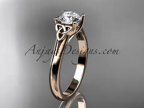 Celtic Triquetra Bridal Ring, Rose Gold Ring CT7154