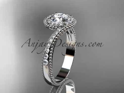 """platinum halo diamond engagement ring with a """"Forever One"""" Moissanite center stone ADLR379"""