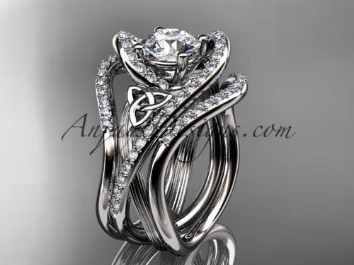 """14kt white gold diamond celtic trinity knot wedding ring, engagement ring with a """"Forever One"""" Moissanite center stone and double matching band  CT7369S"""