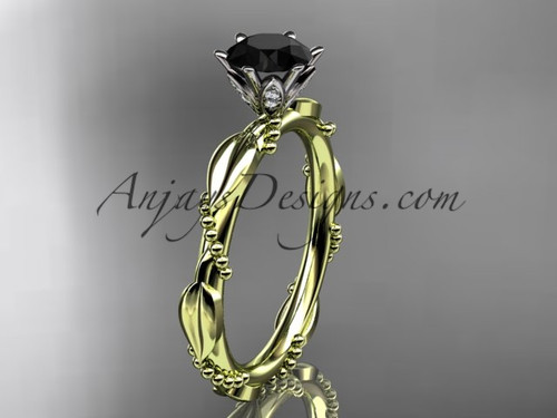 14k Yellow Gold  Black Diamond Leaf Wedding Ring ADLR178