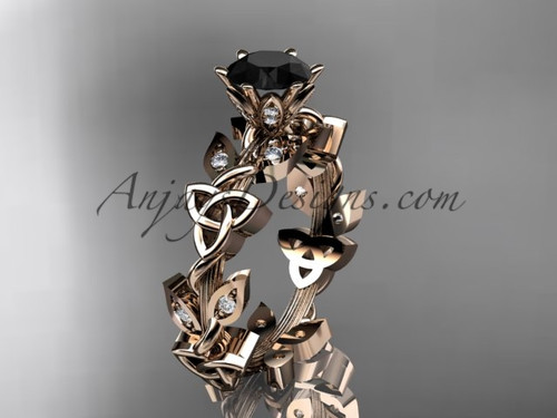 14kt rose gold diamond celtic trinity knot wedding ring, engagement ring with a Black Diamond center stone CT7209