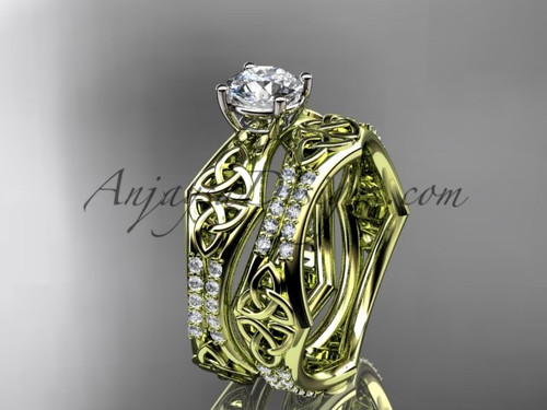 """14kt yellow gold diamond celtic trinity ring,  triquetra ring, engagement  set with a """"Forever One"""" Moissanite center stone CT7353S"""