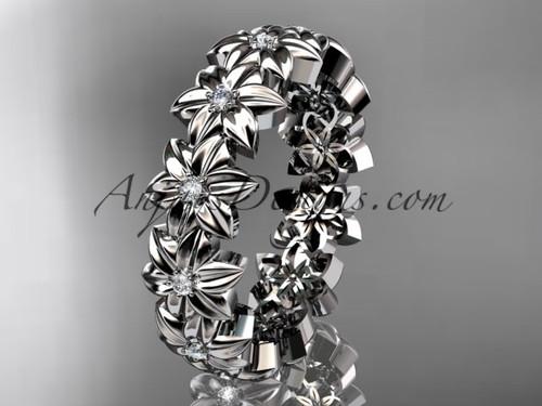 14kt white gold diamond flower wedding ring, engagement ring, wedding band ADLR57B