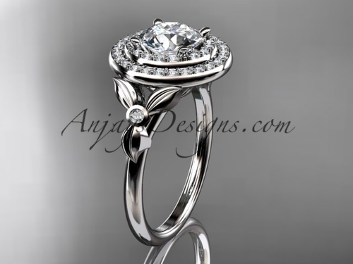 platinum diamond floral wedding ring, engagement ring ADLR133