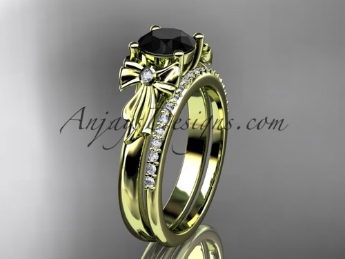 14kt yellow gold diamond unique engagement set, wedding ring with a Black Diamond center stone ADER154S
