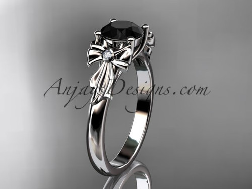 platinum diamond unique engagement ring, wedding ring with a Black Diamond center stone ADER154