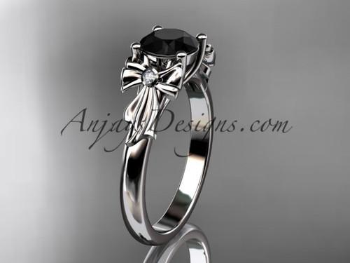 platinum diamond unique engagement ring, wedding ring with a Black Diamond center stone ADER154