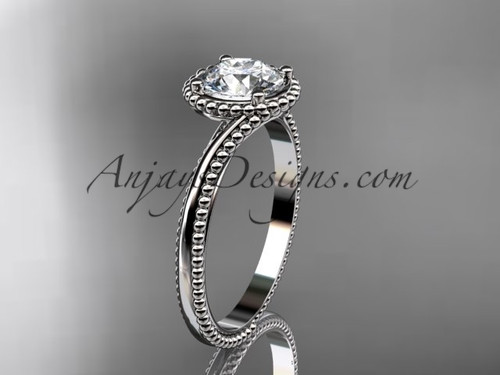 """14kt white gold  wedding ring, engagement ring with a """"Forever One"""" Moissanite center stone ADLR389"""