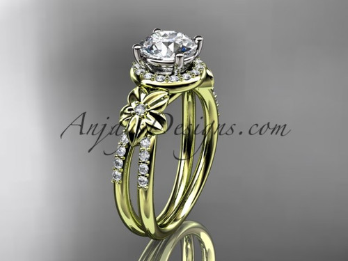 Halo Diamond Engagement Ring, 14k Yellow Gold Flower Bridal Ring ADLR373