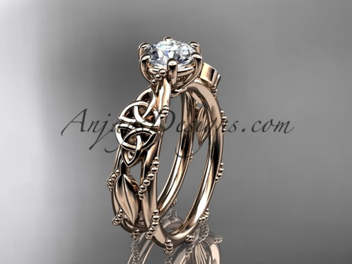 Celtic Engagement Rings Rose Gold Leaf Wedding Ring CT766