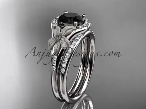 14kt white gold diamond leaf and vine wedding ring, engagement set with a Black Diamond center stone ADLR91S