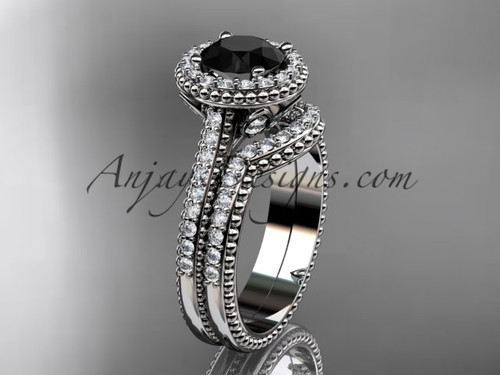 14kt white gold diamond floral wedding set, engagement ring with a Black Diamond center stone ADLR101S