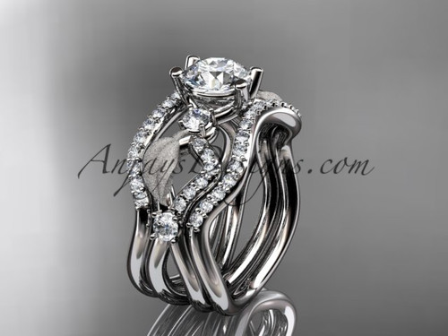 """14kt white gold diamond leaf and vine wedding ring, engagement ring with """"Forever One"""" Moissanite center stone and double matching band ADLR68S"""