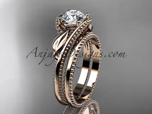 Leaf Wedding Ring Set Rose Gold Engagement Ring ADLR322S