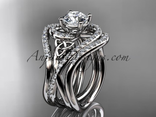 """14kt white gold diamond celtic trinity knot wedding ring, engagement ring with a """"Forever One"""" Moissanite center stone and double matching band CT7320S"""