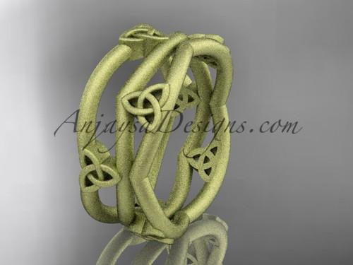 14kt yellow gold celtic trinity knot wedding band, matte finish wedding band, engagement  ring CT7350G