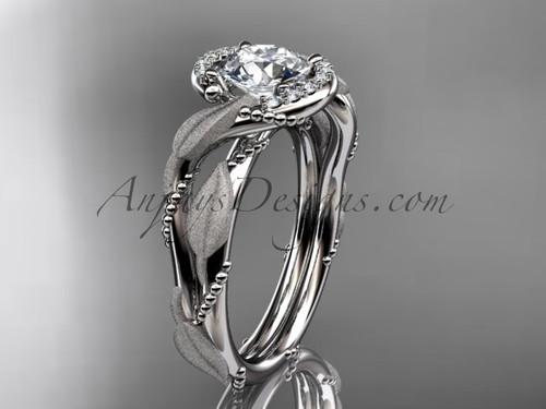 14kt white gold diamond leaf and vine wedding ring, engagement ring ADLR65