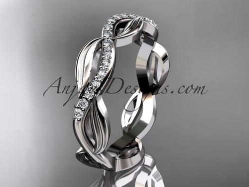 platinum diamond leaf and vine wedding ring, engagement ring, wedding band ADLR100B