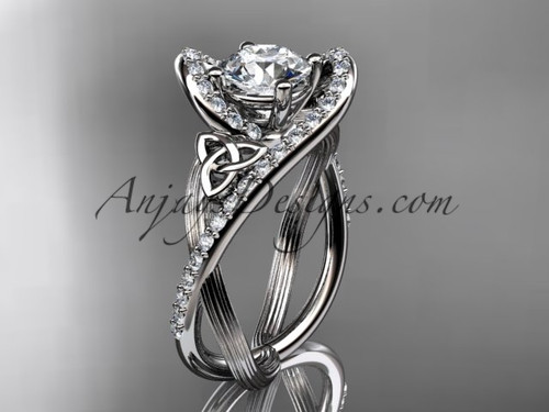 """14kt white gold diamond celtic trinity knot wedding ring, engagement ring with a """"Forever One"""" Moissanite center stone CT7369"""