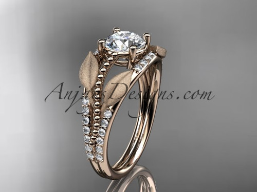 "14kt rose gold diamond leaf and vine wedding ring, engagement ring with  ""Forever One"" Moissanite center stone ADLR75"
