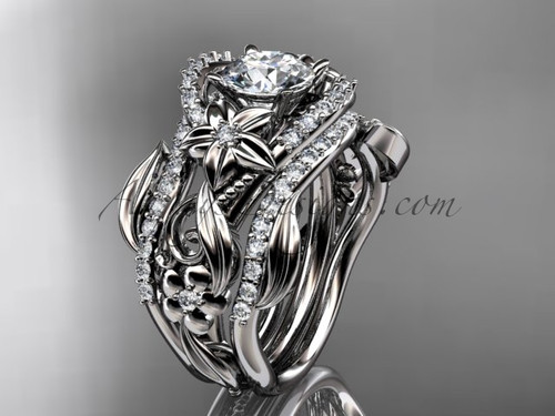 14kt white gold diamond leaf and vine engagement ring with double matching band ADLR211S