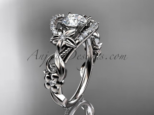 Unique White Gold Wedding Ring, Flower Bridal Ring ADLR211