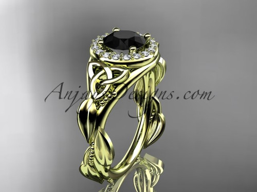 14kt yellow gold diamond celtic trinity knot wedding ring, engagement ring with a Black Diamond center stone CT7327