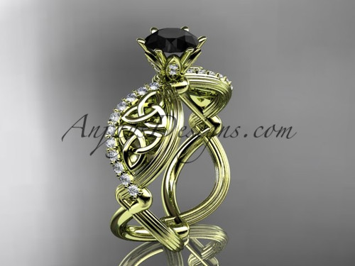 14kt yellow gold diamond celtic trinity knot wedding ring, engagement ring with a Black Diamond center stone CT7192