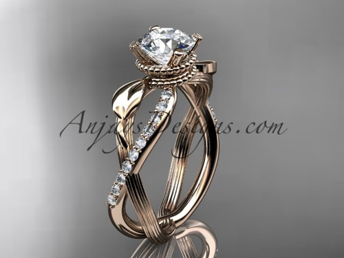 Moissanite Diamond Rose Gold Flower Wedding Ring ADLR70