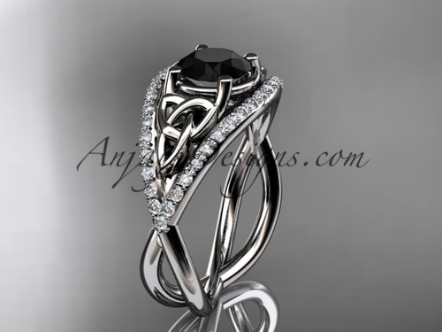 14kt white gold celtic trinity knot engagement ring ,diamond wedding ring with Black Diamond center stone CT788