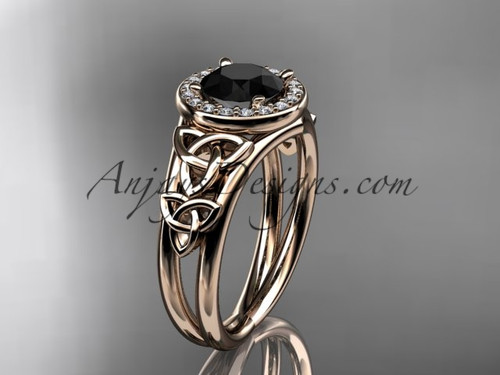 14kt rose gold diamond celtic trinity knot wedding ring, engagement ring with a Black Diamond center stone CT7131