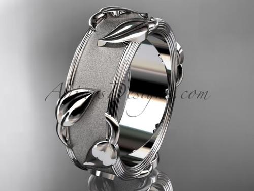 Amazing Modern Leaf and Vine Wedding Band, 14kt White Gold Bridal Ring ADLR252G