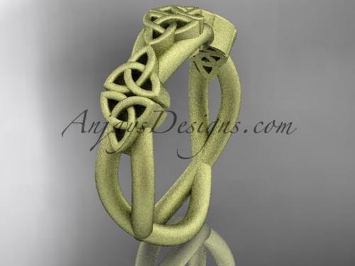 14kt yellow gold celtic trinity knot wedding band, matte finish wedding band, engagement  ring CT7505G