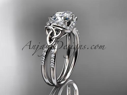 14kt white gold diamond celtic trinity knot wedding ring, engagement ring CT7155