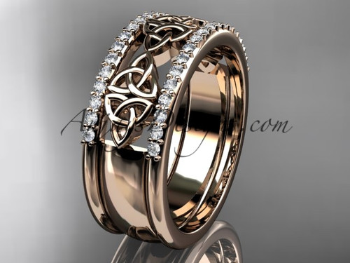 14kt rose gold diamond celtic trinity knot  wedding band, bridal ring CT7406B