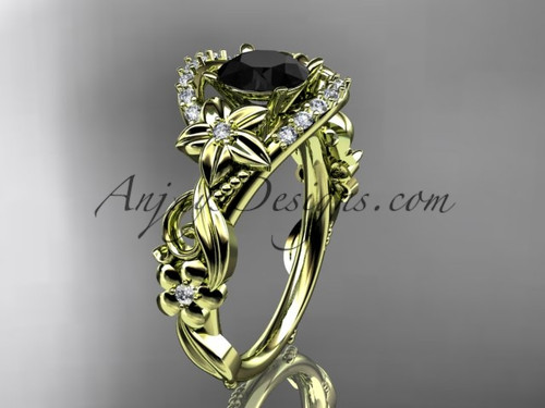 Yellow Gold Flower Black Diamond Engagement Ring ADLR211S