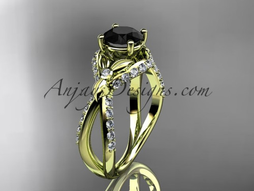 Unique 14kt yellow gold diamond flower, leaf and vine wedding ring, engagement ring with a Black Diamond center stone ADLR218