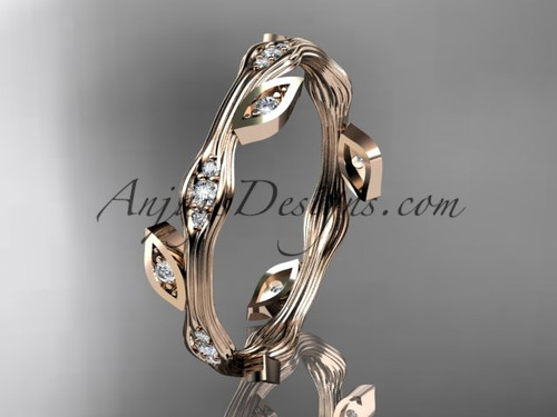 Stunning Diamond Ring Rose Gold Leaf Wedding Band ADLR41B