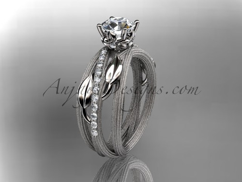 """Platinum diamond leaf and vine wedding ring,engagement ring with a """"Forever One"""" Moissanite center stone ADLR329"""
