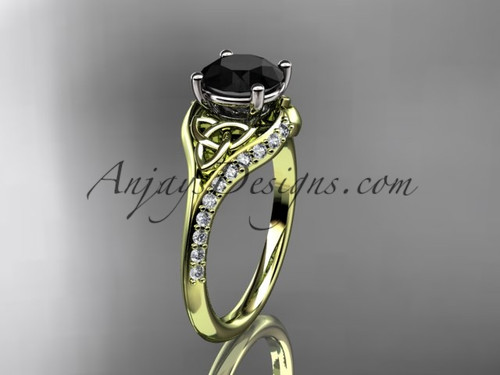 14kt yellow gold diamond celtic trinity knot wedding ring, engagement ring with a Black Diamond center stone CT7125