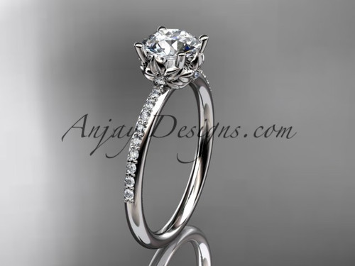 "14kt white gold diamond floral wedding ring, engagement ring with a ""Forever One"" Moissanite center stone ADLR92"