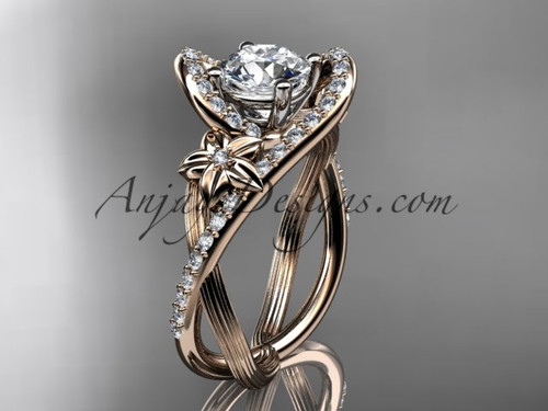 "14k rose gold leaf and flower diamond unique engagement ring, wedding ring with a ""Forever One"" Moissanite center stone ADLR369"