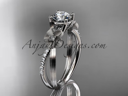 """Platinum diamond leaf and vine wedding ring, engagement ring with a """"Forever One"""" Moissanite center stone ADLR214"""