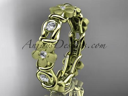 14kt yellow gold diamond flower wedding ring, engagement ring, wedding band ADLR197B