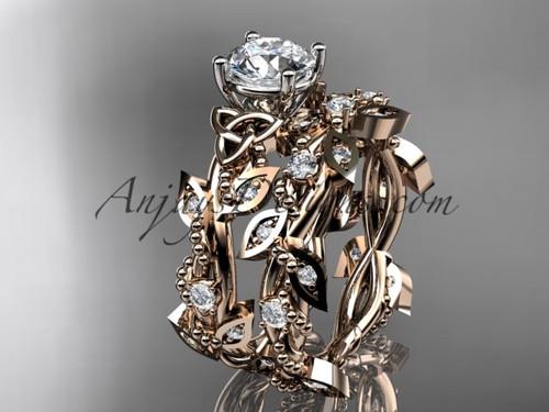 Irish Rings, 14kt Rose Gold Celtic Wedding Ring Set CT759S