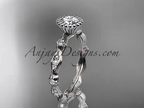 "14kt white gold diamond leaf wedding ring, engagement ring with  ""Forever One"" Moissanite center stone ADLR21"